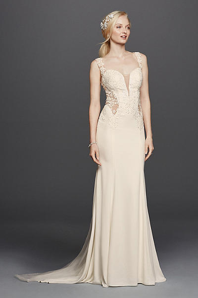Beaded Lace Wedding Dress with Illusion Details Style SWG725